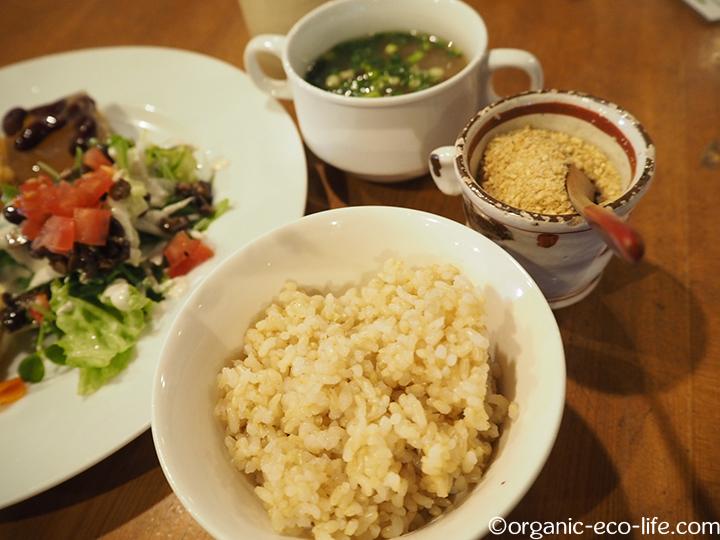 菜食プレートの玄米
